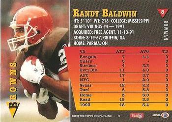 1994 Bowman #8 Randy Baldwin Back