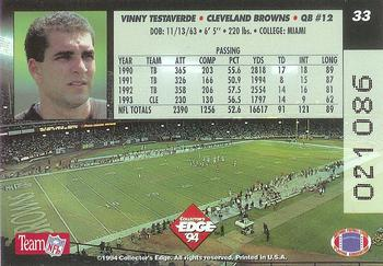 1994 Collector's Edge #33 Vinny Testaverde Back