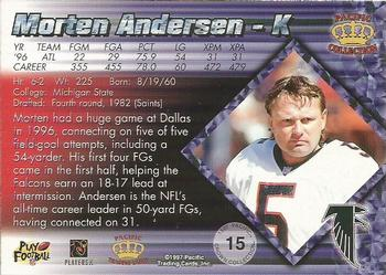 1997 Pacific - Platinum Blue #15 Morten Andersen Back