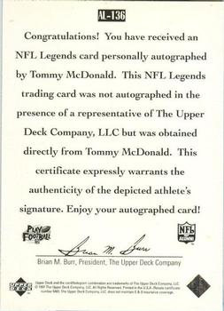 1997 Upper Deck Legends - Autographs #AL136 Tommy McDonald Back