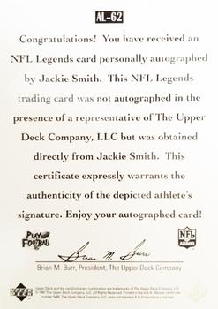 1997 Upper Deck Legends - Autographs #AL62 Jackie Smith Back