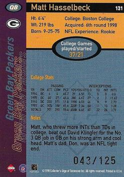 1998 Collector's Edge First Place - 50-Point Silver #131 Matt Hasselbeck Back