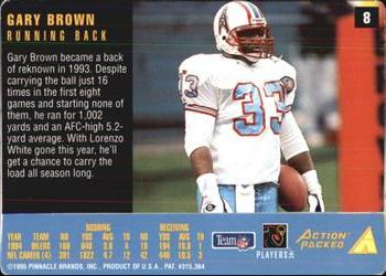 1995 Action Packed Rookies & Stars #8 Gary Brown Back