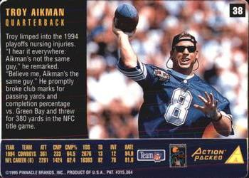 1995 Action Packed Rookies & Stars #38 Troy Aikman Back