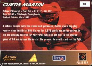 1995 Action Packed Rookies & Stars #90 Curtis Martin Back