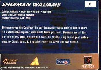 1995 Action Packed Rookies & Stars #91 Sherman Williams Back