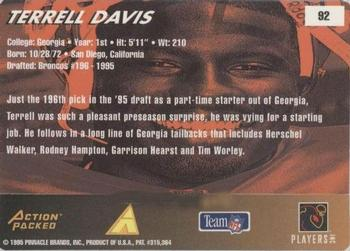 1995 Action Packed Rookies & Stars #92 Terrell Davis Back