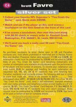 1995 Collector's Choice - Crash The Game #C6B Brett Favre Back