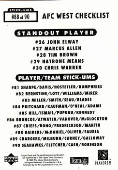 1995 Collector's Choice Update - Stick-Ums #88 Oakland Raiders / Terry McDaniel / Jimmy Oliver / Christian Fauria Back
