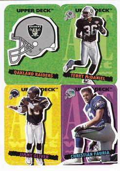 1995 Collector's Choice Update - Stick-Ums #88 Oakland Raiders / Terry McDaniel / Jimmy Oliver / Christian Fauria Front