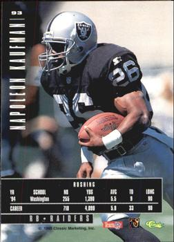 1995 Classic Images Limited #93 Napoleon Kaufman Back