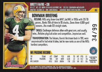2000 Bowman - Gold #86 Brett Favre Back