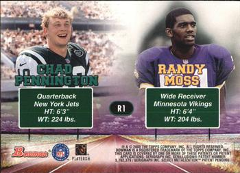 2000 Bowman - Road to Success #R1 Chad Pennington / Randy Moss Back