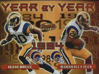 2000 Bowman's Best - Year by Year #Y7 Isaac Bruce / Marshall Faulk Front