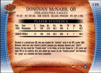 2000 Collector's Edge Masters - Retail #139 Donovan McNabb Back