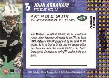 2000 Collector's Edge T3 - Previews HoloPlatinum #JA John Abraham Back