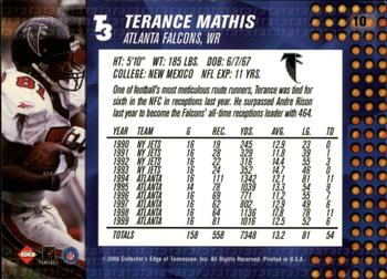 2000 Collector's Edge T3 - Retail #10 Terance Mathis Back