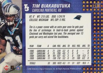 2000 Collector's Edge T3 - Retail #21 Tim Biakabutuka Back