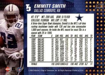 2000 Collector's Edge T3 - Retail #39 Emmitt Smith Back