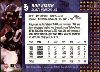 2000 Collector's Edge T3 - Retail #45 Rod Smith Back
