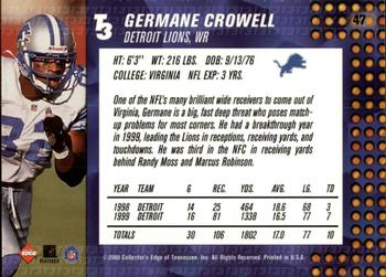 2000 Collector's Edge T3 - Retail #47 Germane Crowell Back