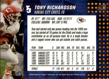 2000 Collector's Edge T3 - Retail #70 Tony Richardson Back
