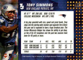 2000 Collector's Edge T3 - Retail #84 Tony Simmons Back