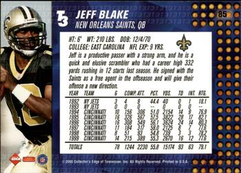 2000 Collector's Edge T3 - Retail #85 Jeff Blake Back