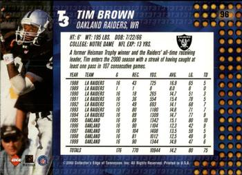 2000 Collector's Edge T3 - Retail #96 Tim Brown Back