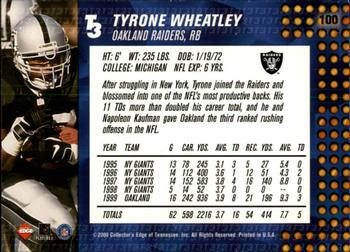 2000 Collector's Edge T3 - Retail #100 Tyrone Wheatley Back