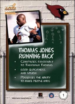 2000 Pacific Aurora - Rookie Draft Board #1 Thomas Jones Back