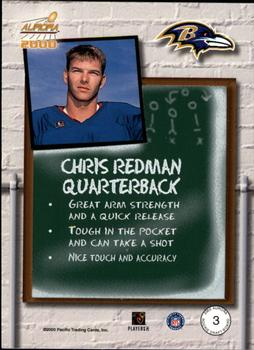 2000 Pacific Aurora - Rookie Draft Board #3 Chris Redman Back