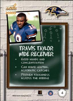 2000 Pacific Aurora - Rookie Draft Board #4 Travis Taylor Back