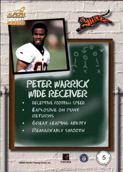 2000 Pacific Aurora - Rookie Draft Board #5 Peter Warrick Back