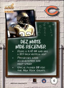 2000 Pacific Aurora - Rookie Draft Board #6 Dez White Back