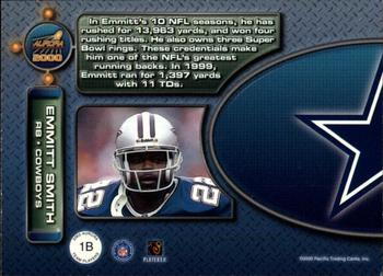 2000 Pacific Aurora - Team Players #1b Emmitt Smith Back
