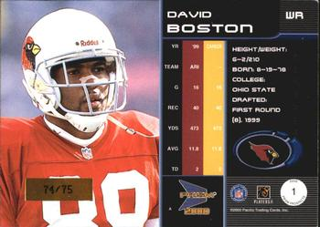 2000 Pacific Prism Prospects - Holographic Mirror #1 David Boston Back