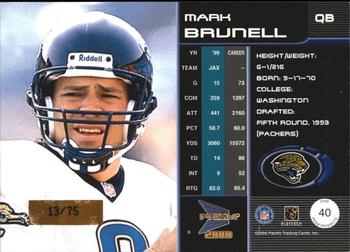 2000 Pacific Prism Prospects - Holographic Mirror #40 Mark Brunell Back
