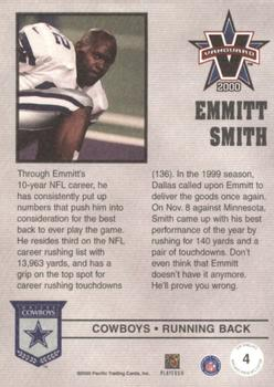 2000 Pacific Vanguard - Press Retail #4 Emmitt Smith Back