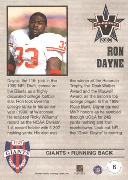 2000 Pacific Vanguard - Press Retail #6 Ron Dayne Back