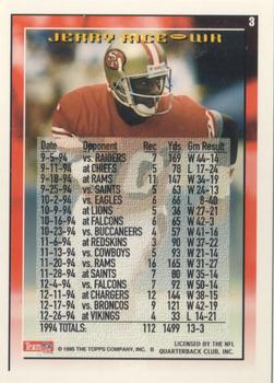 1995 Topps #3 Jerry Rice Back
