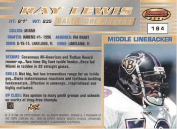 1996 Bowman's Best #164 Ray Lewis Back