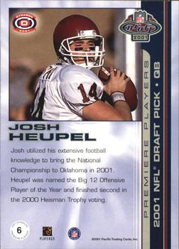 2001 Pacific Dynagon - Premiere Players #6 Josh Heupel Back