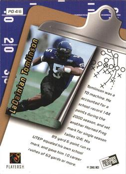 2001 Press Pass - Paydirt #PD4 LaDainian Tomlinson Back