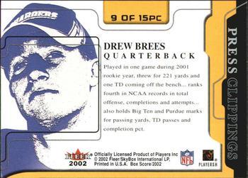 9d30948e4 2002 Fleer Box Score - Press Clippings  9 Drew Brees Back