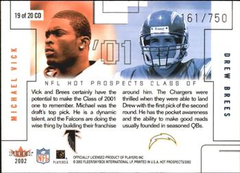 86e0fb892 2002 Fleer Hot Prospects - Class Of  19 Michael Vick   Drew Brees Back