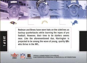 814c10720 2002 Fleer Hot Prospects - Hat Trick  1HT Chris Redman   Drew Brees   Joey
