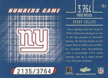 2002 Score - Numbers Game #NG-4 Kerry Collins Back