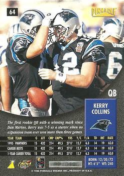 0ead643a1 1996 Pinnacle  64 Kerry Collins Back