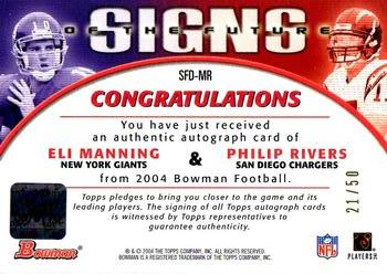 2004 Bowman - Signs of the Future Autographs Dual #SFD-MR Eli Manning / Philip Rivers Back